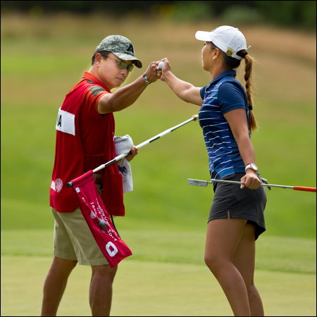 Cindy Ha and father/caddie Matthew Ha during the second round of match play. (Copyright USGA/Steven Gibbons)