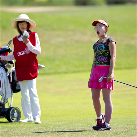Lucy Li reacts to her shot during the first round of match play. (Copyright USGA/Steven Gibbons)