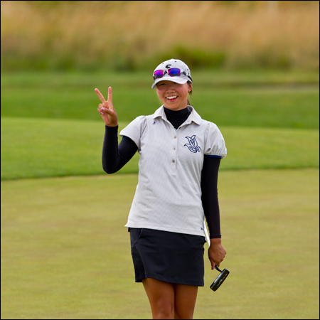 Fumie (Alice) Jo after her 3and2 victory at the 34th hole during the final round of match play. (Copyright USGA/Steven Gibbons)